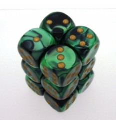 12 d6 16mm Gemini Black-Green/Gold CHX 26639