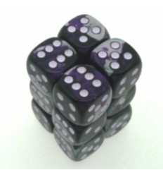 12 d6 16mm Gemini Black-Grey w/green CHX 26645