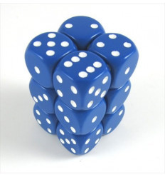 12 d6 16mm Opaque - Blue w/white CHX 25606