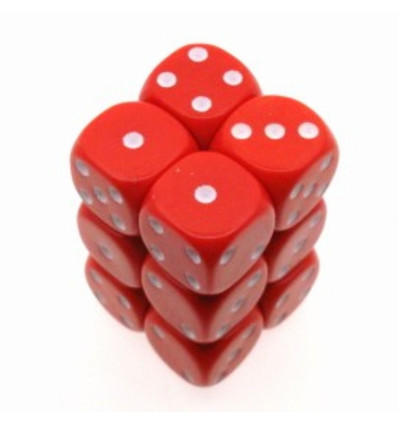 12 d6 16mm Opaque - Red w/white CHX 25604