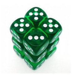 12 d6 16mm Trasparenti Green/White CHX 23605