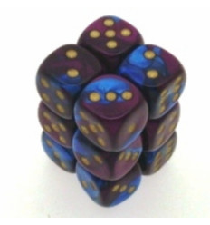 12 d6 16mm Gemini - Blue-Purple/gold CHX 26628