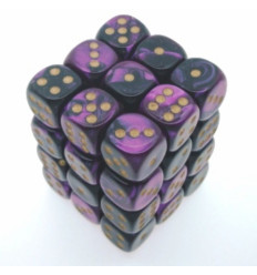 36 d6 12mm Gemini - Black-Purple/gold CHX 26840