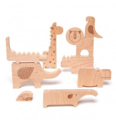 Safari Jungle Wooden Puzzle & Play Set