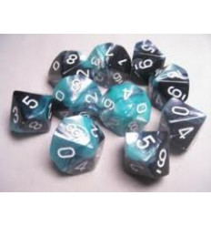 Set 10 d10 Gemini - Black-Shell w/white CHX 26246