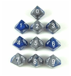 Set 10 d10 Gemini - Blue-Steel/white CHX 26223