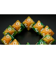 Set 10 d10 Gemini - Gold-Green/white CHX 26225
